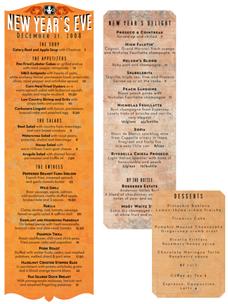Hope and Olive menus